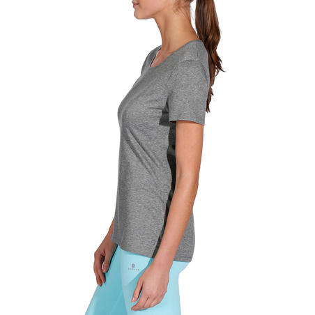 500 Women's Regular-Fit Gentle Gym & Pilates T-Shirt - Heathered Grey