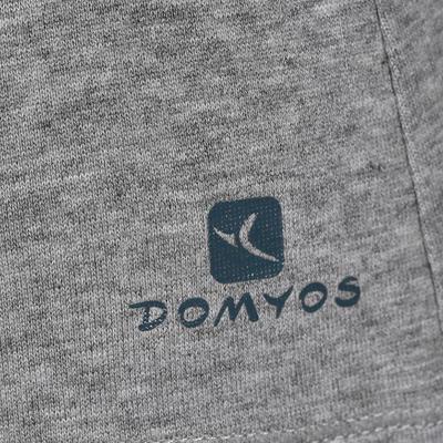 تيشرت الجمنازيوم وتمارين البيلاتس المريح قصير الأكمام للسيدات DOMYOS - رمادي