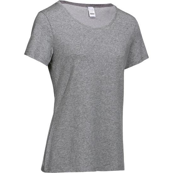 Dames T-shirt met korte mouwen voor gym en pilates, regular fit, gemêleerd - 215078
