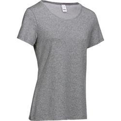 Camiseta Manga Corta Gimnasia Pilates Domyos Regular 500 Mujer Gris