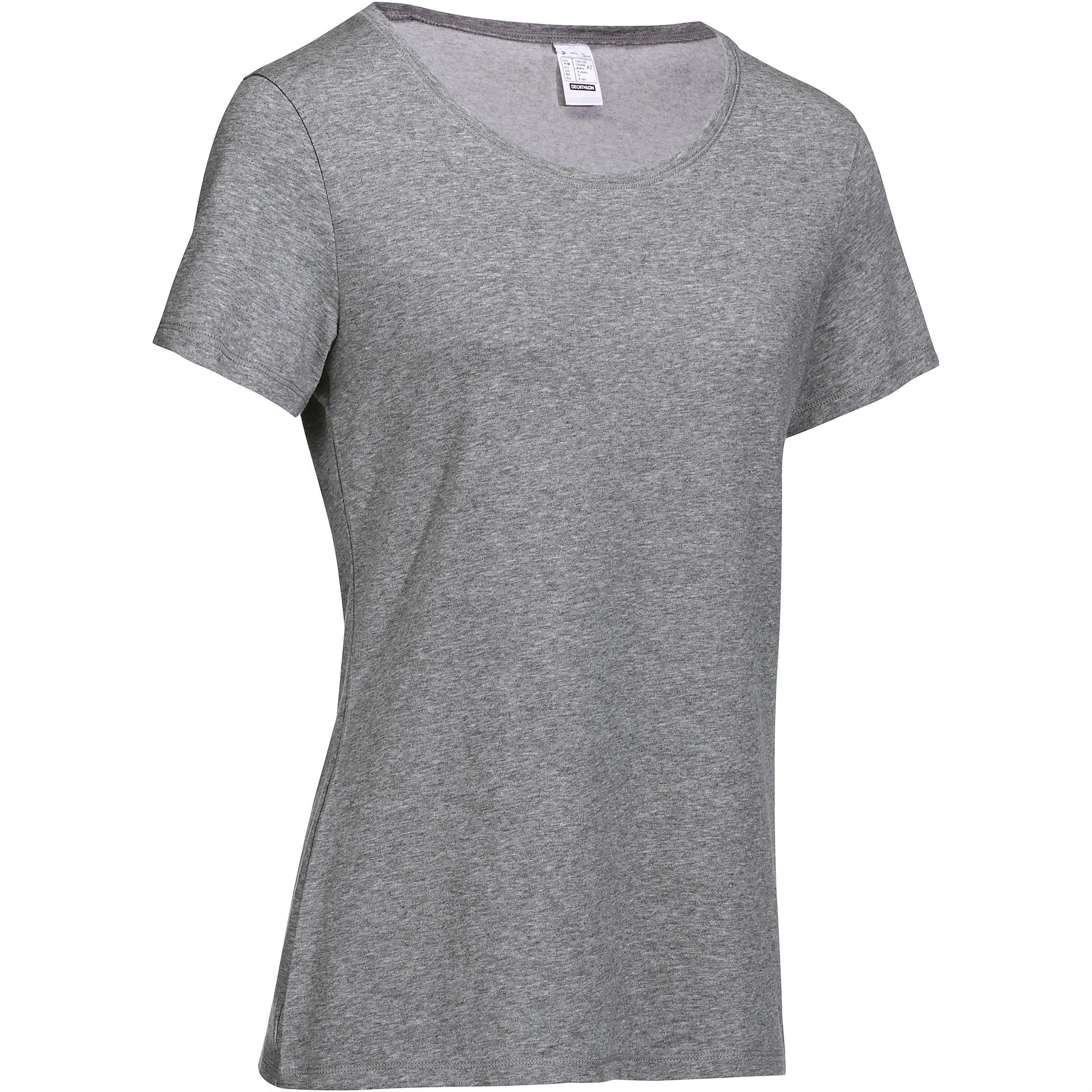 Domyos Dames T-shirt 500 voor gym en stretching regular fit gemêleerd
