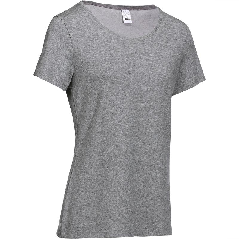 T-shirt 500 regular fit pilates en lichte gym dames gemêleerd grijs