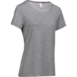 Camiseta Manga Corta Gimnasia Y Pilates Domyos 500 Regular Mujer Gris Jaspeado