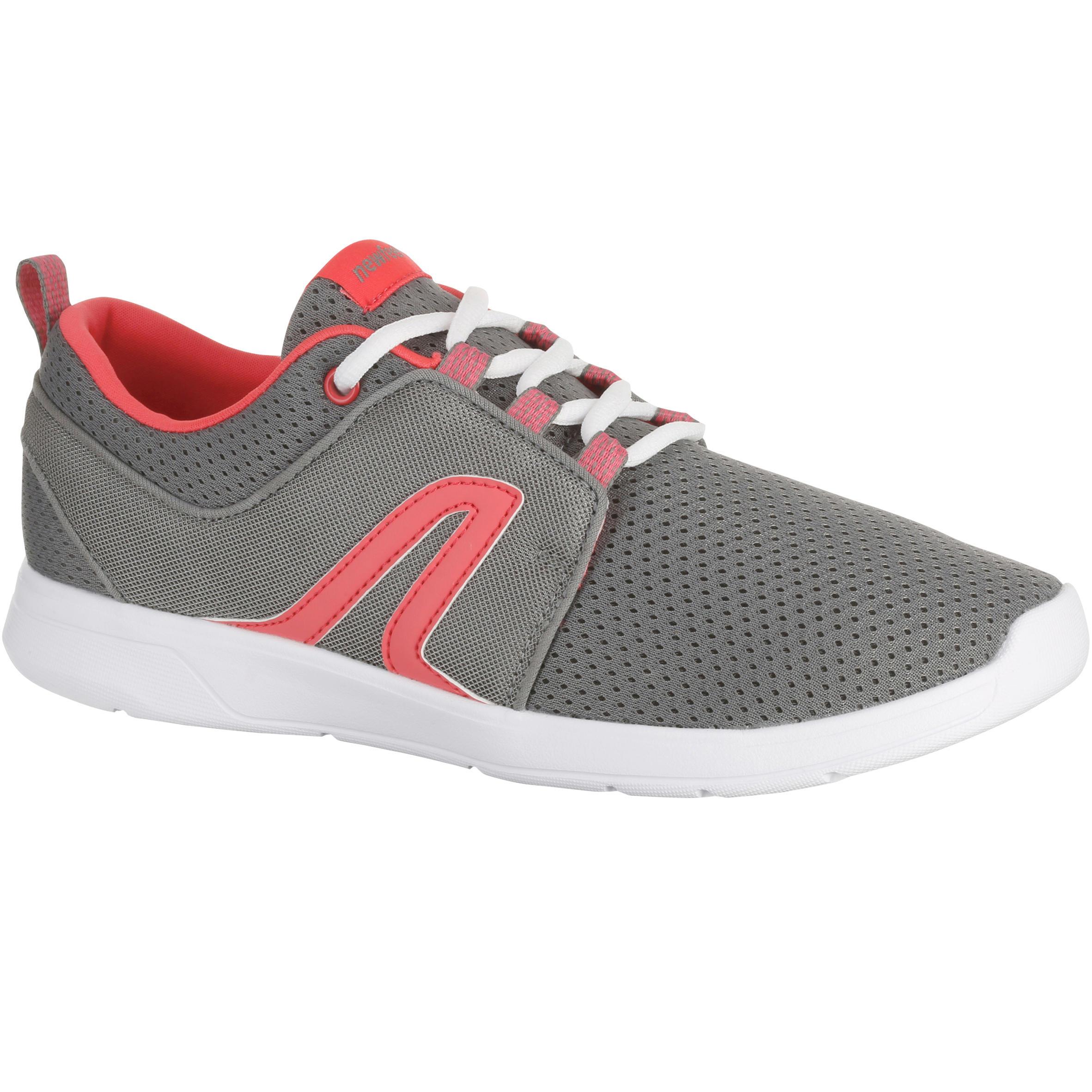 Tenis para caminata activa mujer Soft 140 verano gris / rosa