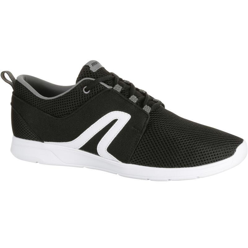 Herensneakers voor sportief wandelen Soft 140 mesh zwart/wit