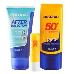 Set zonbescherming: crème SPF50+ - lipstick SPF50+ - aftersunmelk