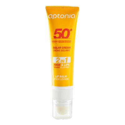 Duo 2 en 1 crème solaire et stick lèvres protecteur solaire IP50+