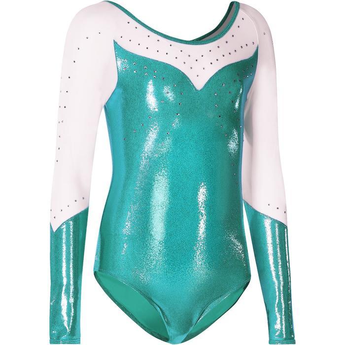 Justaucorps manches longues Gym Féminine (GAF) paillettes/strass/voile bleu. - 218175