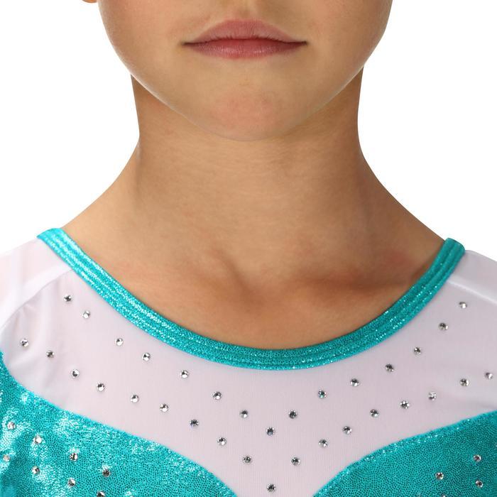 Justaucorps manches longues Gym Féminine (GAF) paillettes/strass/voile bleu. - 218177