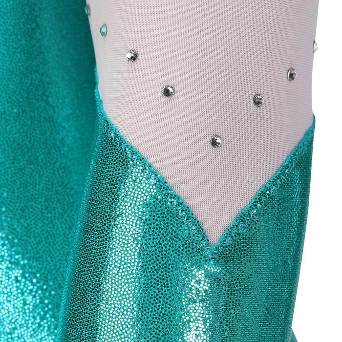Justaucorps manches longues Gym Féminine (GAF) paillettes/strass/voile bleu. - 218186