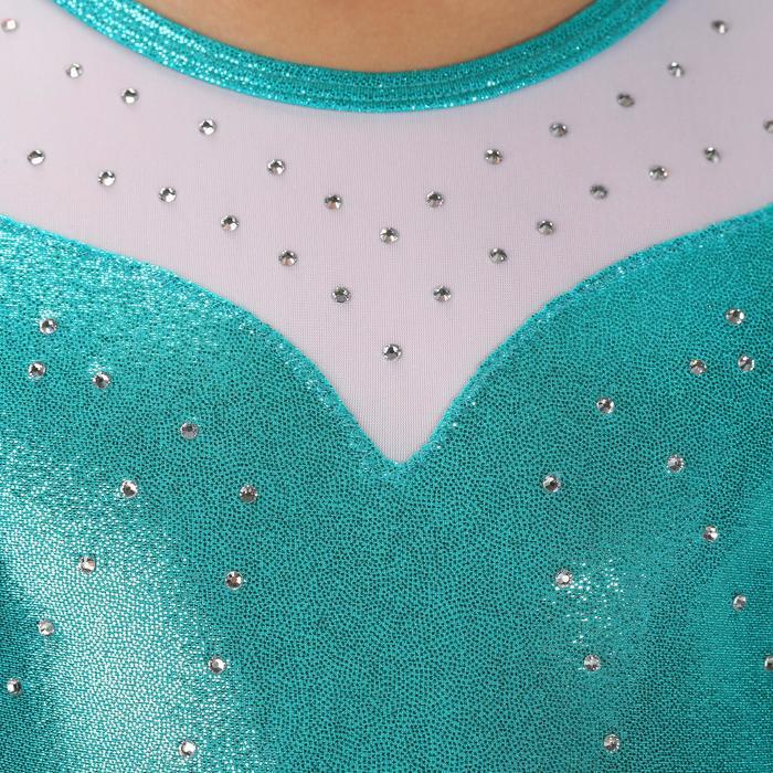Turnpakje lange mouwen (toestelturnen) meisjes lovertjes/strass/voile turquoise