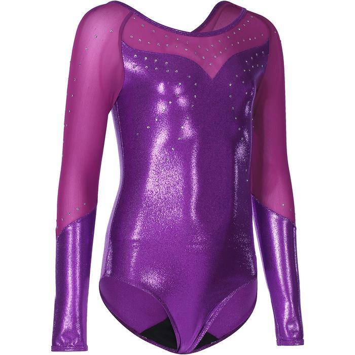 Justaucorps manches longues Gym Fille (GAF) paillettes/strass/voile violet