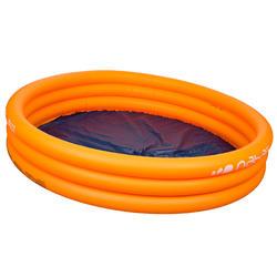 Rond oranje opblaasbaar zwembadje met 3 banden van 152 cm diameter en 30 cm hoog - 27007