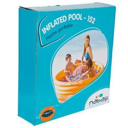 Rond oranje opblaasbaar zwembadje met 3 banden van 152 cm diameter en 30 cm hoog - 27010