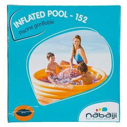 Rond oranje opblaasbaar zwembadje met 3 banden van 152 cm diameter en 30 cm hoog - 27017