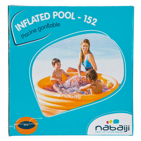 Round inflatable paddling pool with three chambers width 152cm height 30cm