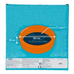 Rond oranje opblaasbaar zwembadje met 3 banden van 152 cm diameter en 30 cm hoog - 27033