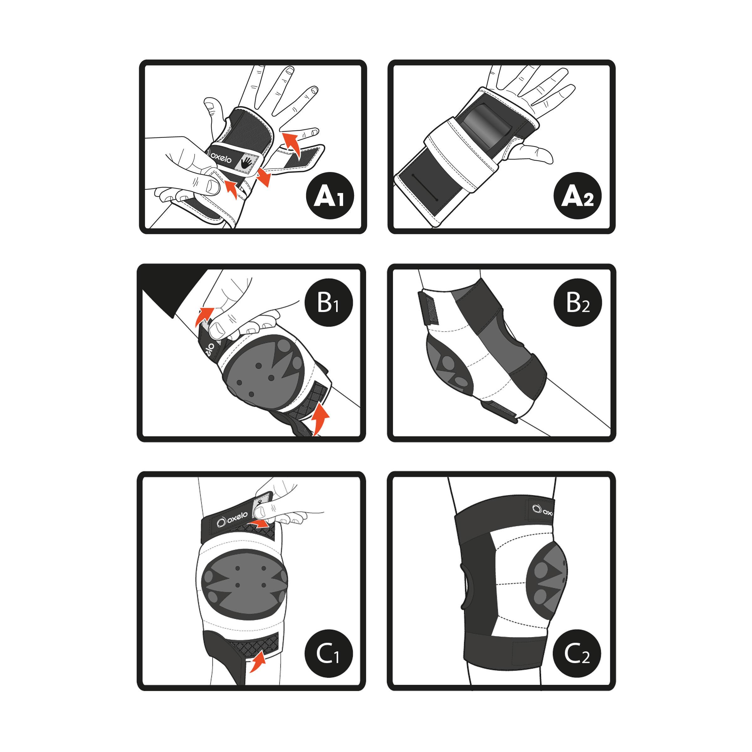 Ens. de 3 protections pour patin, skateboard, trottinette pour enfant BASIC noir