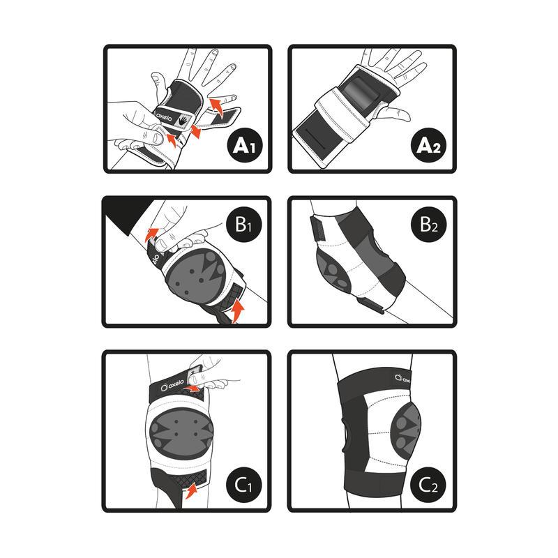 Set 3 protecciones patines, skateboard y scooter niños BASIC negro
