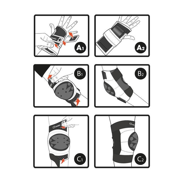 Set 3 beschermers Basic voor kinderen, voor skeeleren, skateboard, step zwart