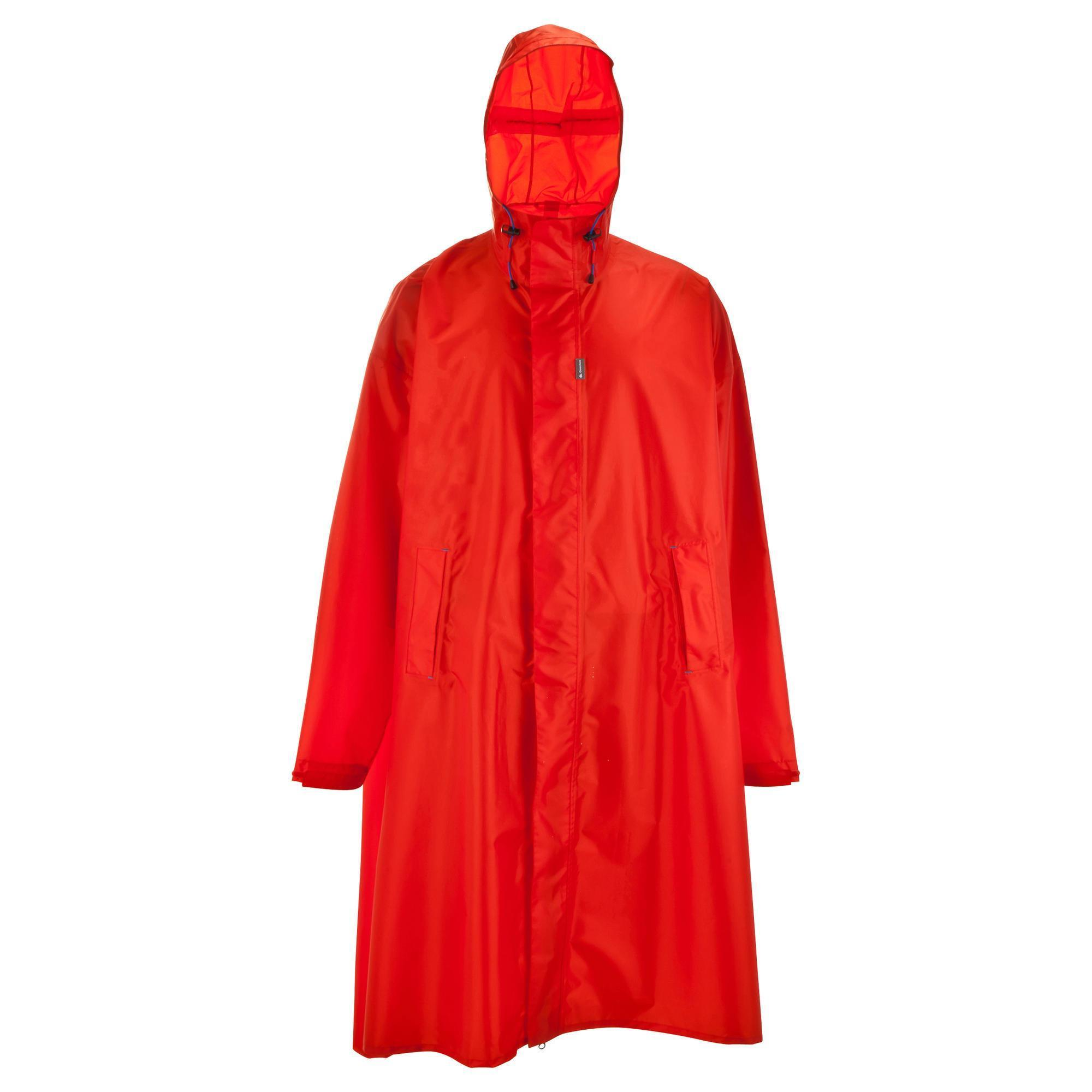 Red Forclaz L Xl Mountain Trekking Rain Cape Quechua