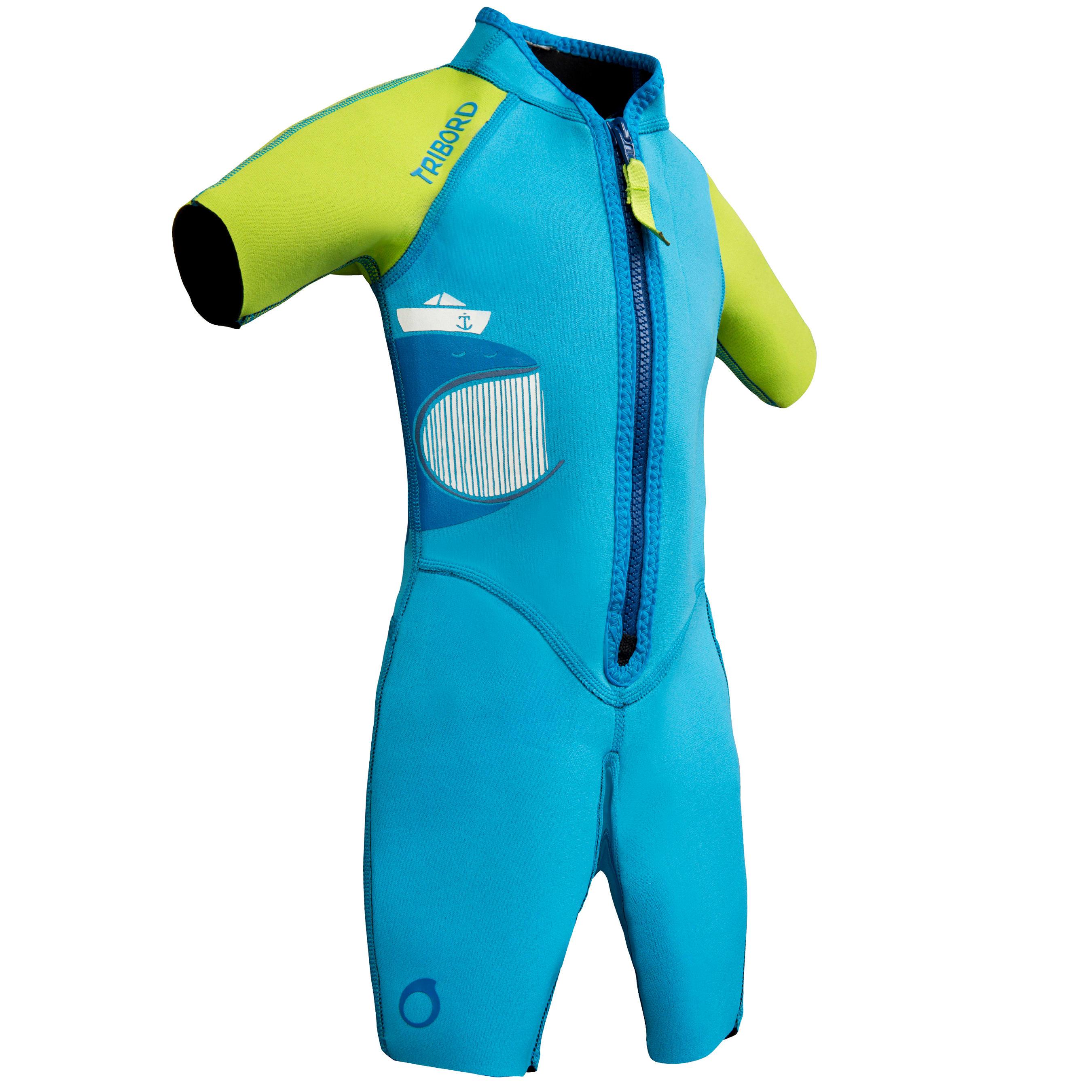 Subea Kindershorty 100 voor snorkelen blauw/groen