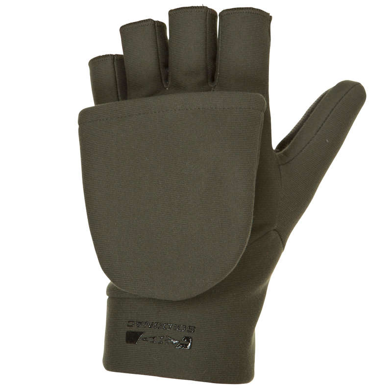 WARM GLOVES/BEENIES/HOODS Shooting and Hunting - 500 SOFTSHELL MITTENS SOLOGNAC - Hunting and Shooting Clothing