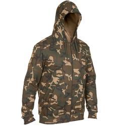 Hoodie met rits 300 voor de jacht camouflage woodland