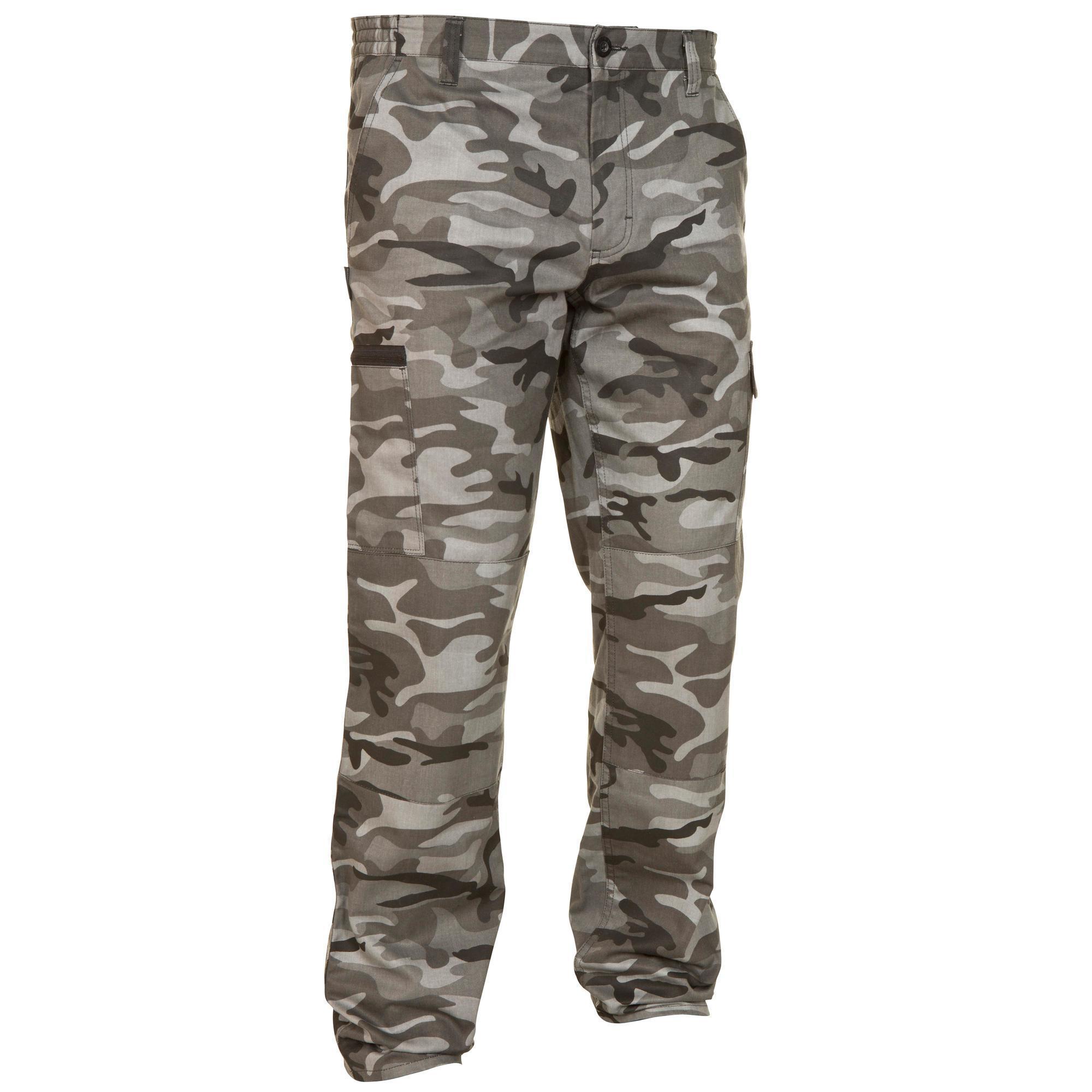Jagdhose Steppe 300 Camouflage schwarz | Sportbekleidung > Sporthosen > Trekkinghosen | Grau | Solognac
