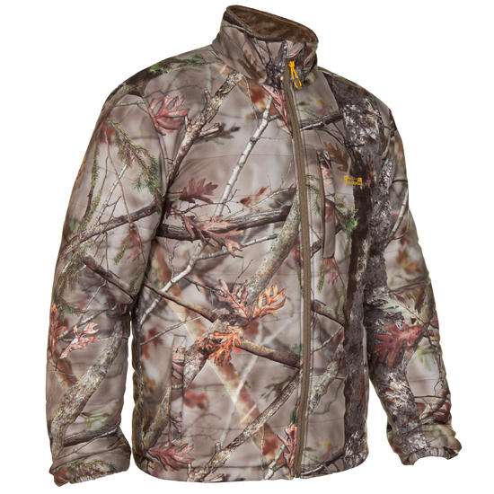 Stille gewatteerde jas Actikam 500 camouflage bruin - 283226