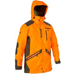 Chaqueta Caza Solognac Supertrack Naranja Fluo Reforzada Impermeable