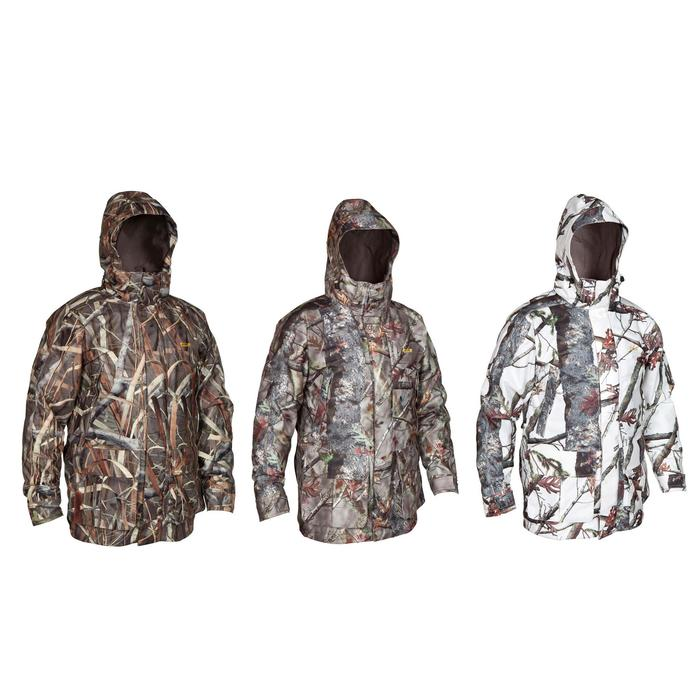 VESTE CHASSE IMPERMEABLE POSIKAM 300 CAMOUFLAGE MARRON