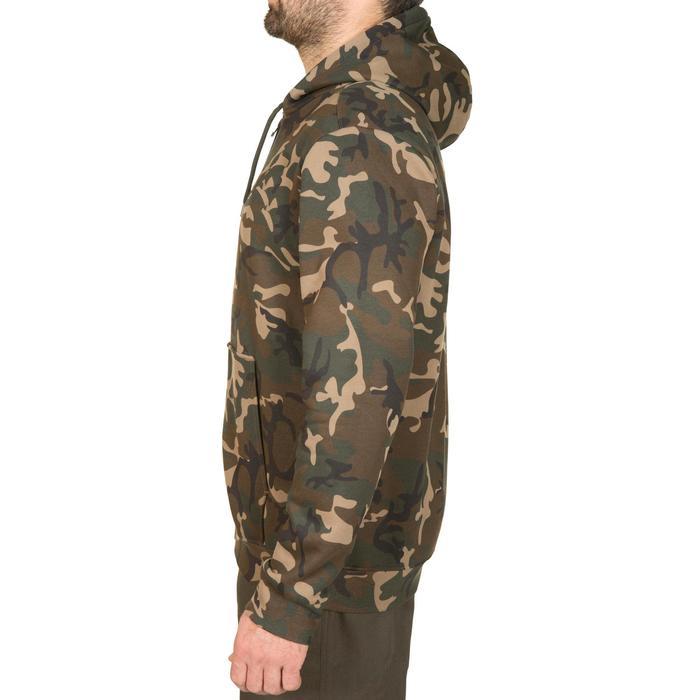 Hoodie met rits 300 voor de jacht camouflage woodland groen