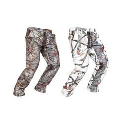 Pantalon Caza Solognac 520 Impermeable Calido Camuflaje Nieve