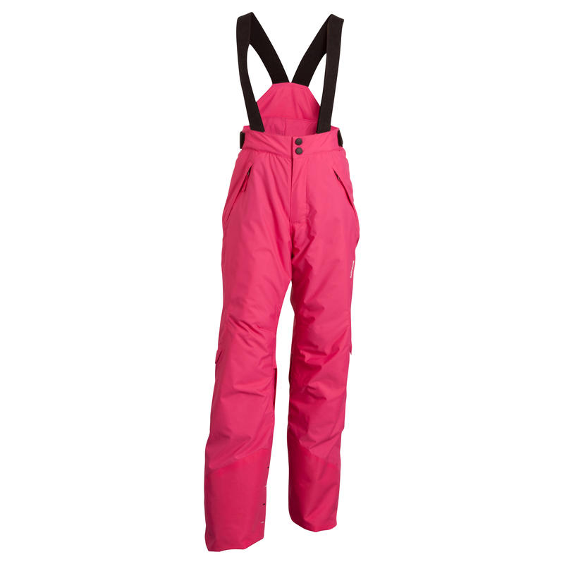 WEDZE EVOSLIDE GIRLS' SKI TROUSERS. Pink