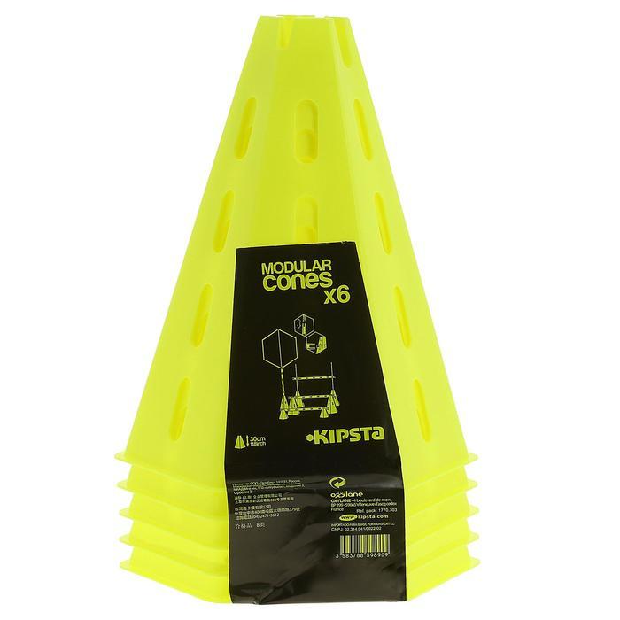 Lot 6 cônes modulables 30 cm jaunes
