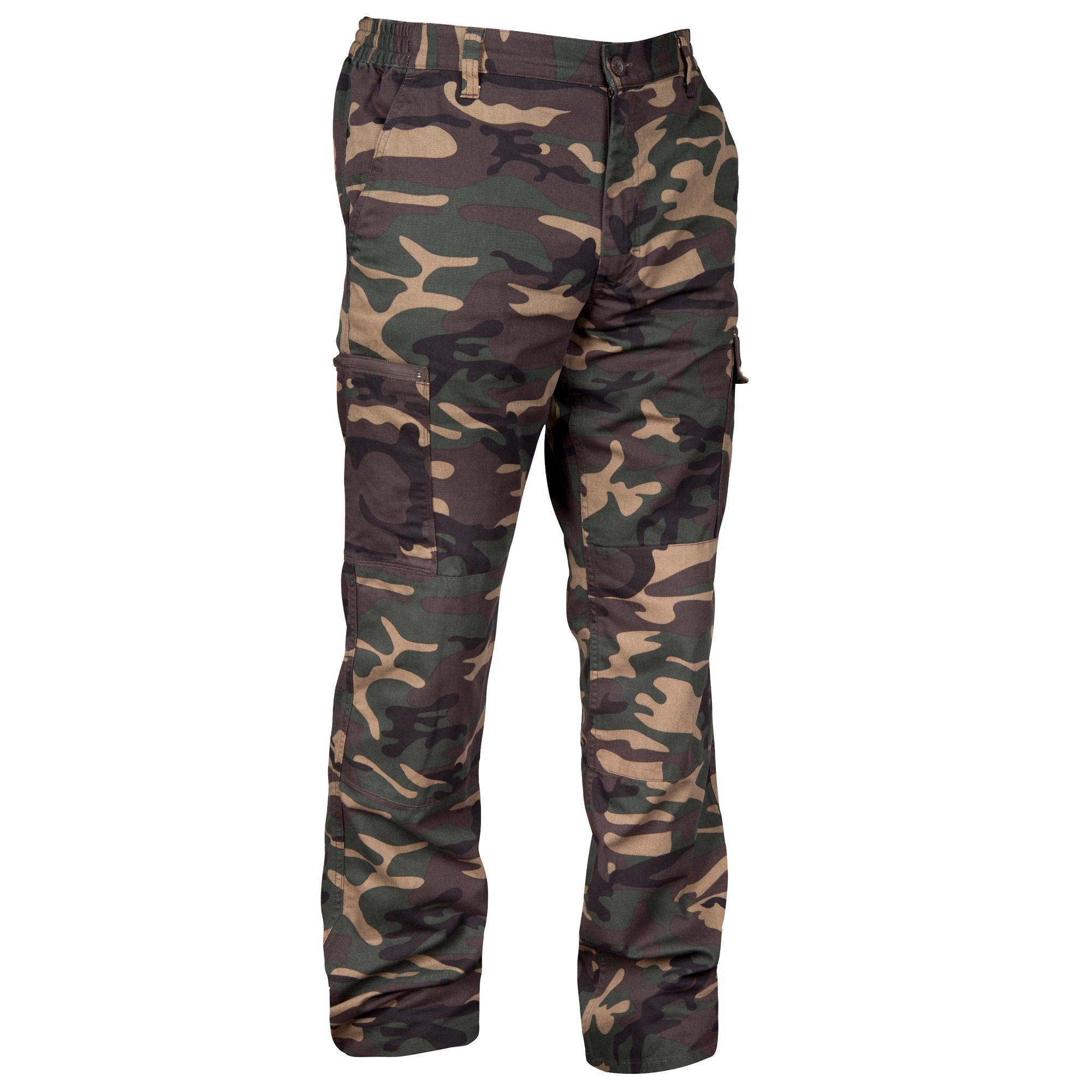 Jagdhose Steppe 300 woodland grün camouflage   Sportbekleidung > Sporthosen > Trekkinghosen   Solognac