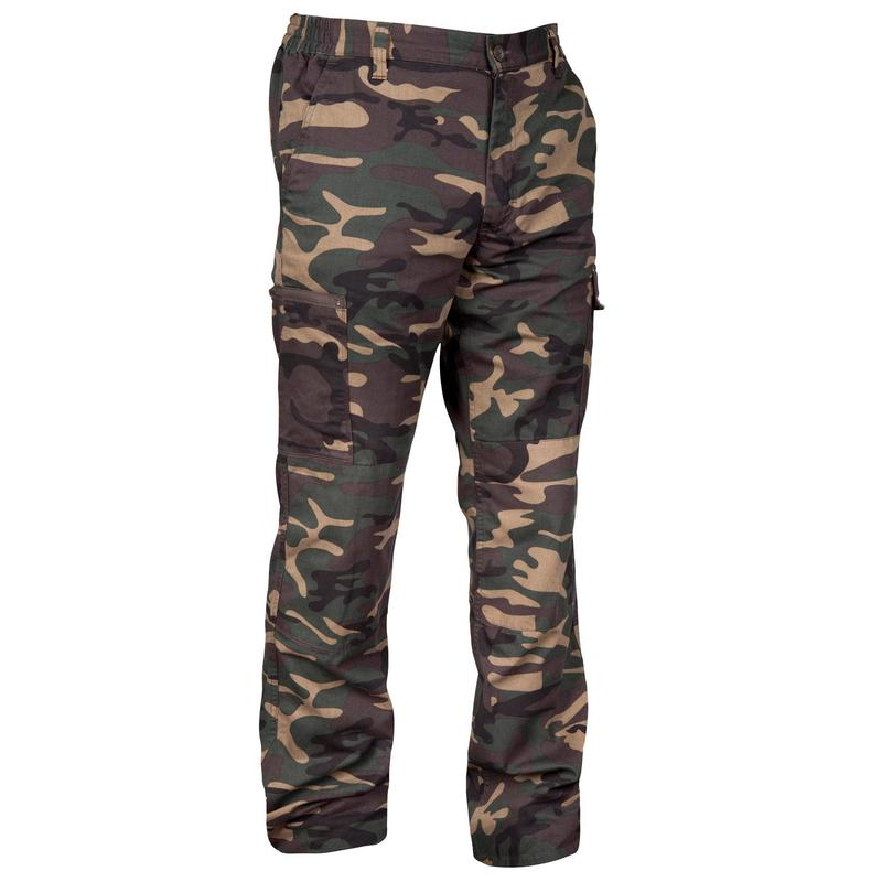 Hunting trousers strong woodland camouflage Steppe 300 green