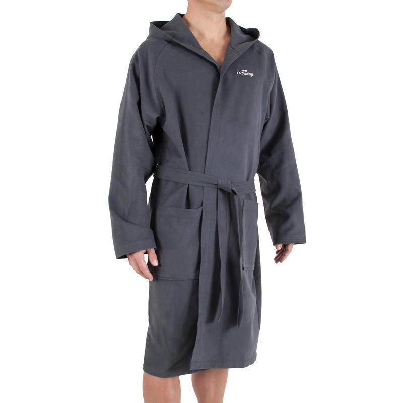 peignoir microfibre homme gris fonc ultra compact avec capuche et ceinture decathlon martinique. Black Bedroom Furniture Sets. Home Design Ideas