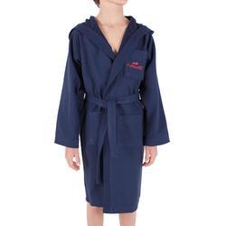 Albornoz de algodón ligero modelo junior azul oscuro, con cinturón y capucha