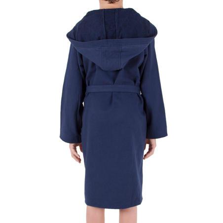 Junior lightweight cotton bathrobe with hood and belt - Dark Blue