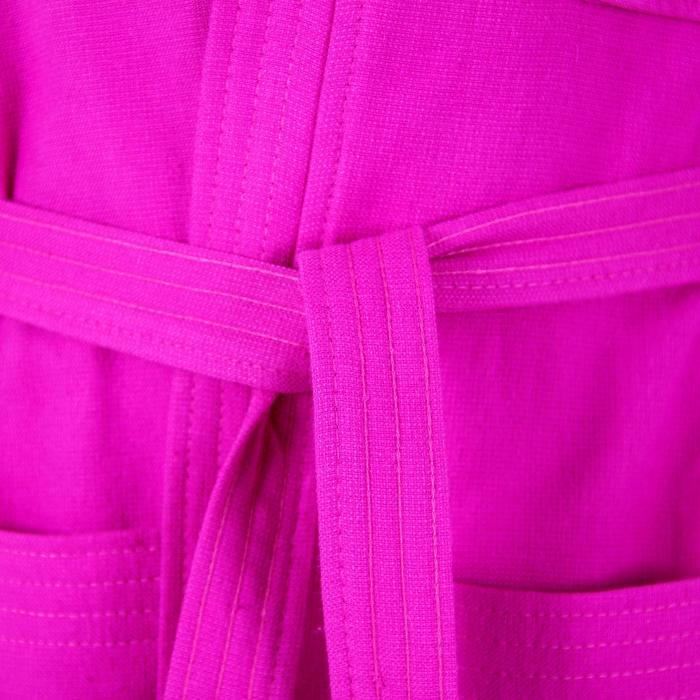 Peignoir en coton léger modèle junior bleu foncé avec ceinture et capuche - 301788