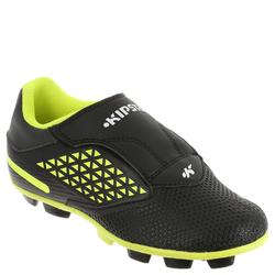 Botas rugby niños terrenos secos Attraction 300 FG tira autoadherente negro amar