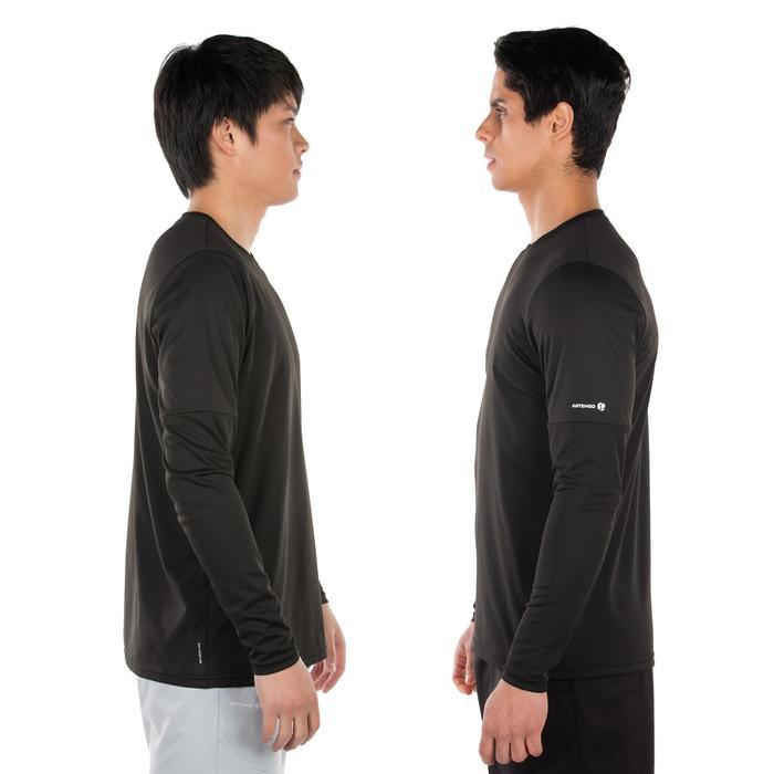 Thermisch 100 tennisshirt met lange mouwen, zwart