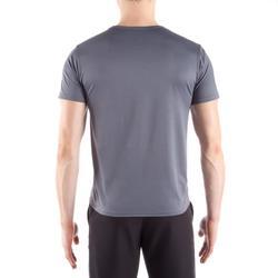 Camiseta Manga Corta Fitnes Cardio Domyos Hombre Gris FST100