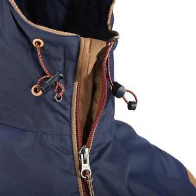 מעיל גשם פשוט וחסין מים לגברים Arpenaz 100 - חום/כחול