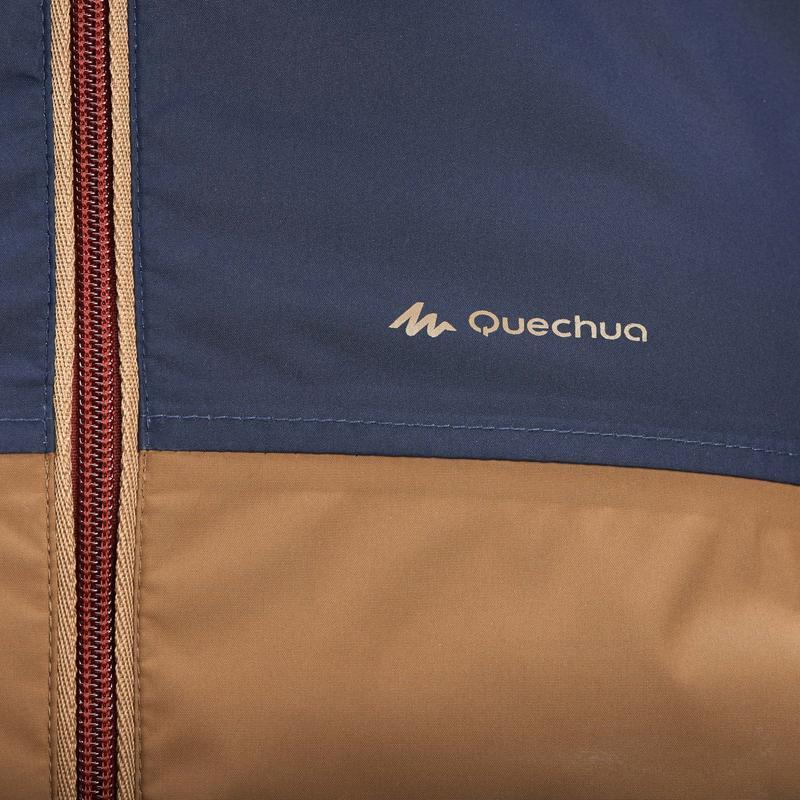 เสื้อแจ็คเก็ตเดินป่ากันน้ำสำหรับผู้ชายรุ่น NH100 (สีน้ำตาล สีฟ้า)