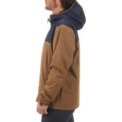 Men's waterproof hiking jacket NH100 - brown blue
