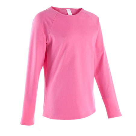 Girls' gym long-sleeved T-shirt - pink