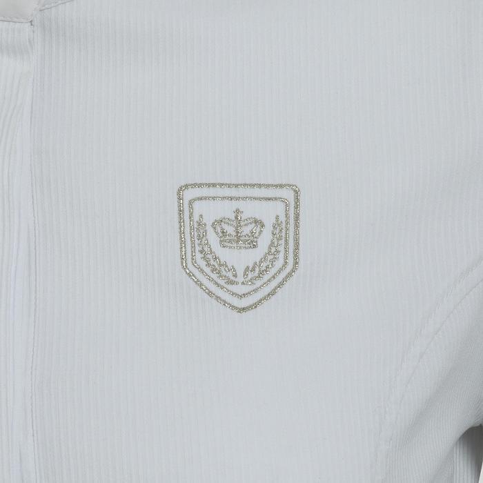 Chemise manches courtes Concours équitation femme blanc broderie argent - 314698